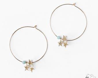 Star hoop earrings, Stars earrings, Large gold filled hoops, Gold statement, Gold gemstone, Amazonite, Dangle earrings, Dainty gold jewelry