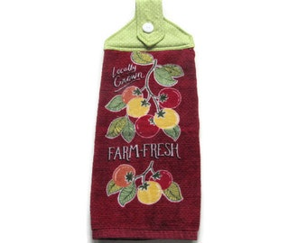 Hanging Tomatoes Kitchen Towel - Fabric Top Kitchen Towel - Farm Fresh Button Top Hanging Towel - Garden Produce Tab Top Towel