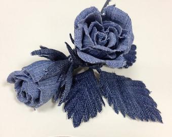 Dress Flower,denim buttonhole, denim boutonniere, jeans rose lapel pin, flower lapel pin, Boutonnieres, Fabric Flower Pin, Denim Wedding