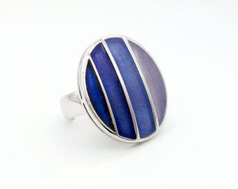 Round Geometric Ring - Transparent Hot Enamels on Sterling Silver - Adjustable Size - Timeless Elegance of the Borsalino Collection