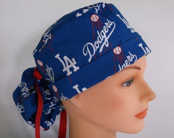 LA Dodgers Ponytail - Womens surgical scrub cap, scrub hat, Nurse surgical cap, f-4270w