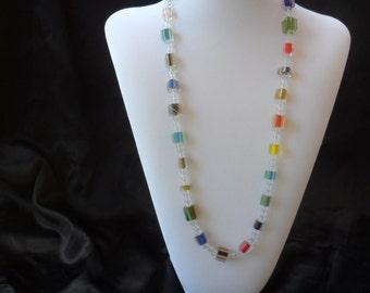 Rainbow Cain Glass Necklace
