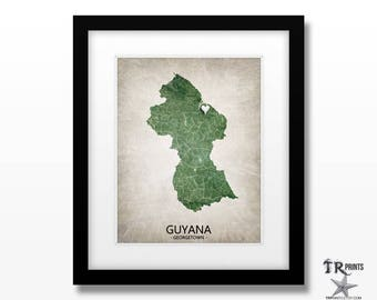 Guyana Map Art Print - Home Is Where The Heart Is Love Map - Original Custom Map Art Print Available in Multiple Size and Color Options