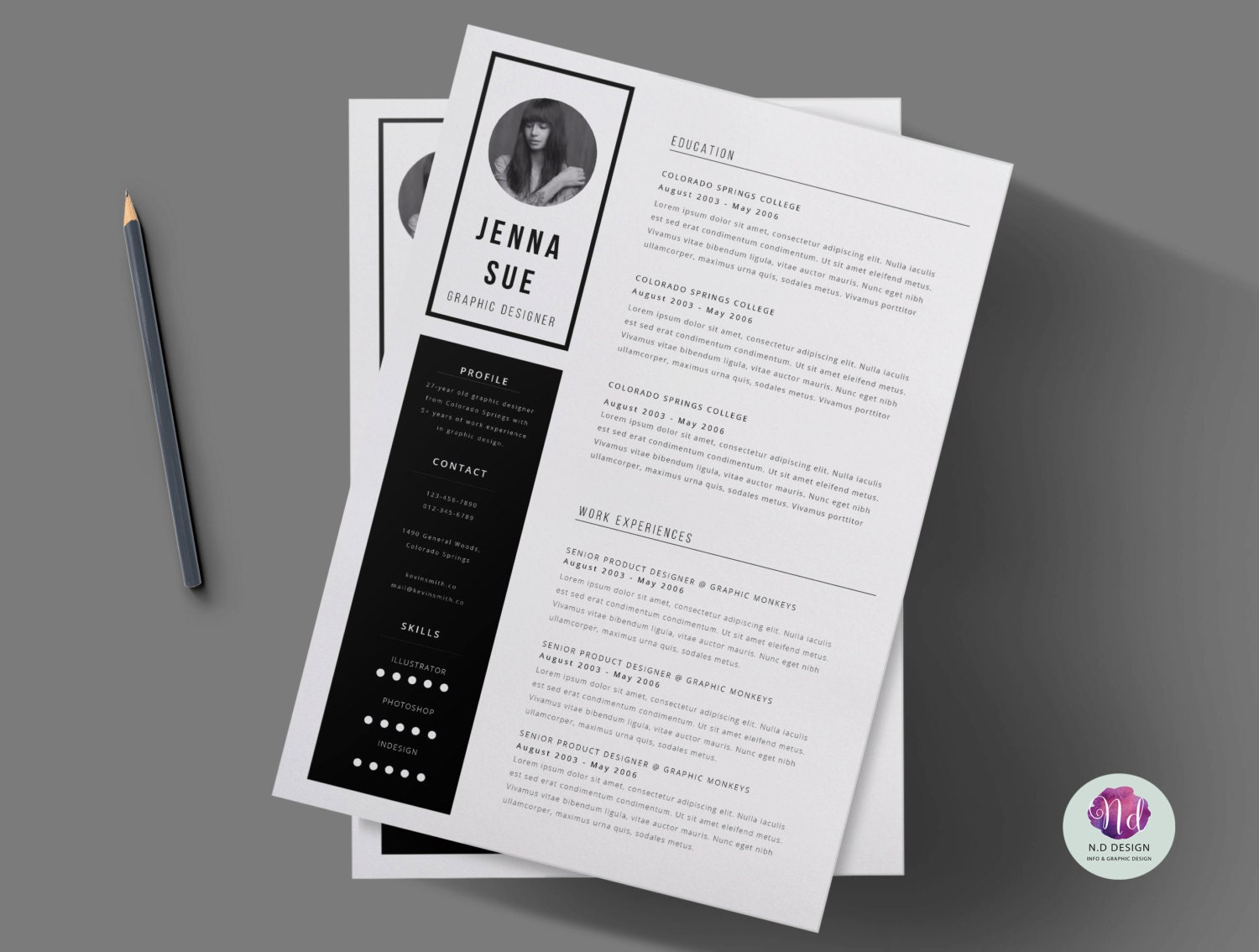 Black & white 2 page CV template cover letter / Minimal