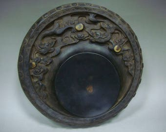 2.9kg Old Chinese Hand Carving Dragon Round Ink Stone InkSlab Marks