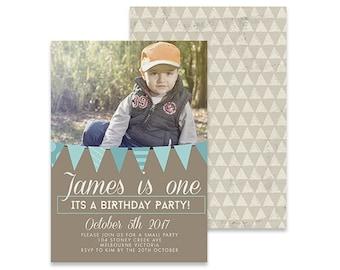 Printable Birthday Photo Invitation | Bunting Grey | Printable DIY Invite, Affordable Invitation, Digital Invite, Boys Invite, Flags