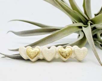 Heart Brooch, Wedding Jewelry, Ivory White, Golden Heart, Pin, Bridesmaid Accessories, Elegant Brooch, Valentine's Day Gift, Chic Jewelry