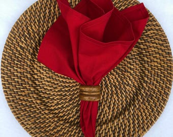 Cloth Napkins in a Rich Red Cotton Fabric, Dinner Napkins,  Reusable Cloth Napkins, Set of 2