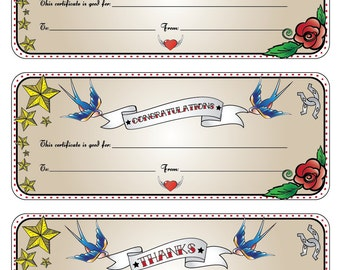 "Printable Gift Certificates - ""This Certificate is Good for ..."" -rockabilly/tattoo, chevron or bubbles"