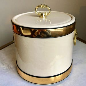 Kraftware Mid Century Ice Bucket, Gold Metal U0026 Cream White Vinyl, Lion Head,