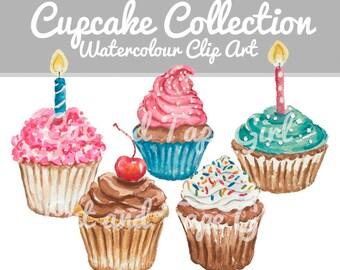 Cupcake Clip Art - Watercolor Clipart, Food Watercolour, Craft Supplies, Digital Clip Art, Food Illustration, Hand Drawn
