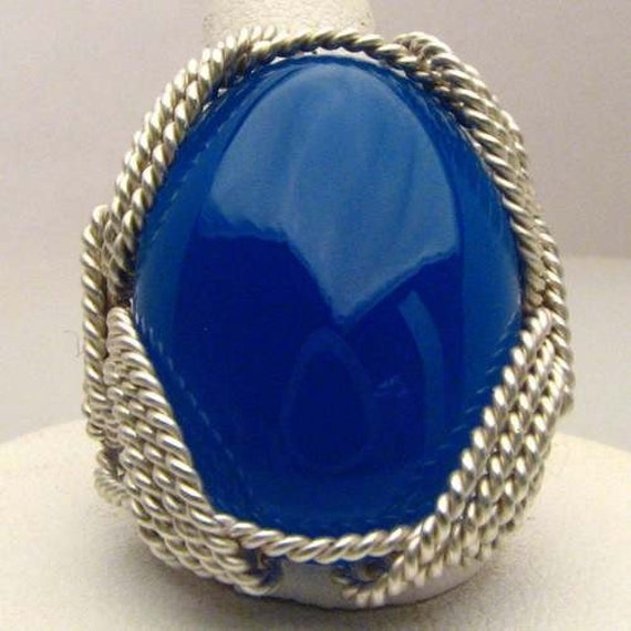 Wonderful Hand Made Wire Wrap Blue Onyx Silver Ring
