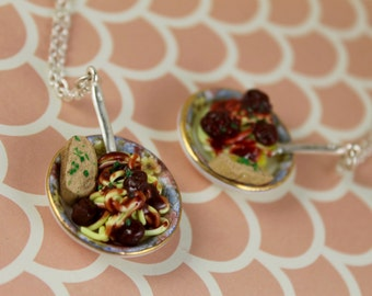 Miniature Bowl of Spaghetti Dinner With a Slice of Garlic Bread Necklace, Polymer Clay, Foodie Necklace