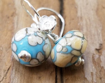 Blue and Cream Artisan Glass Earrings and Sterling Silver, Flower Earrings, Hill Tribe Silver, Pale Blue Glass Earrings, Blue Murano Glass