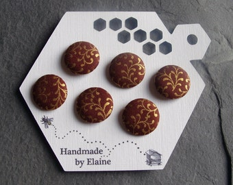 Fabric Covered Buttons - 6 x 19mm Buttons, Handmade Button, Russet Rust Caramel Cedar Chocolate Brown Metallic Gold Tendril Buttons, 2510