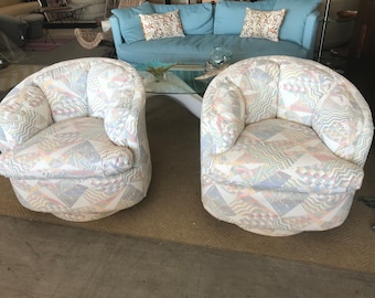 Pastel Pair of Tub Swivel Club Chairs with tufted backs on Sale