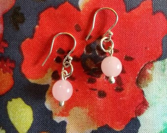 Rose Quartz Bead Drop Earrings with Sterling Silver