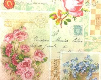 Napkin romantic - flowers - patchwork