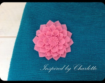 pink dahlia brooch in felt
