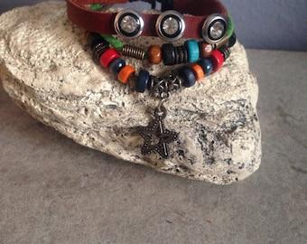 Handmade Women's Leather Star Charm Bracelet