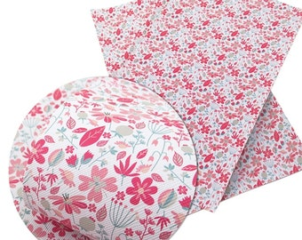 Pink Floral Faux Leather Sheet