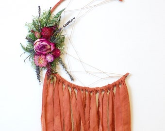 Burnt Orange Moon Dream Catcher with Dried Flowers