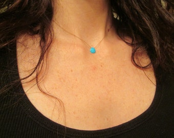 TURQUOISE floating stone necklace on a fine silk cord December birthstone minimal gemstone jewelry