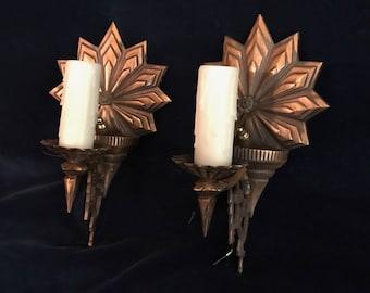 Pair Antique Sconces-  Heavy Cast Copper Rich Bronze Starburst -Exceptional details - Fits Many Design Movements of 20th Century - Restored