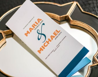 "Ceremony Programs, Folded Booklet Programs, Modern Mitzvah Programs, Teal and Orange Party Theme - ""Bold Striped"" Booklet Program - DEPOSIT"