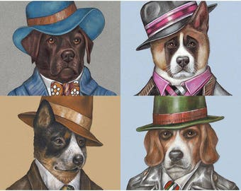 Dog Art for Gentlemen - 4 Art Prints - Brown Labrador, American Akita, Australian Cattle and Beagle - Pet Portraits by Maria Pishvanova