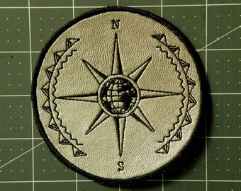 Mariner's Compass Iron on Patch on Cowhide Leather 4 ""
