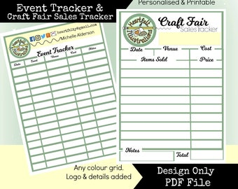 Personalised Printable Matching Business Events & Craft Fair Sales Tracker Sheets to print yourself