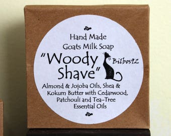 "Goats Milk Shave Soap - ""Woody Shave"" with Shea, Kokum, Almond Oil, Bentonite Clay, Aloe - scented with Cedarwood, Patchouli & Tea Tree"