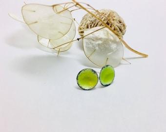 Green  Earrings ~   Green Enamel Earrings - Green Post Earrings