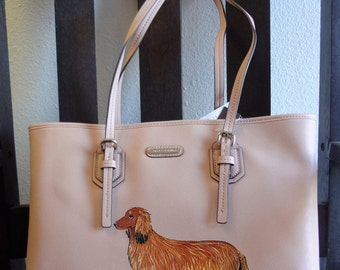 Dachshund Doxie Long Haired Dog Hand Painted Purse / Handbag / Wearable Art - One of a Kind