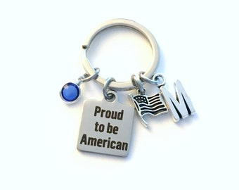 New Citizen Gift Keychain, Gift for America Citizenship Key Chain, Proud to be American Keyring, USA US Men Women Flag Birthstone Initial