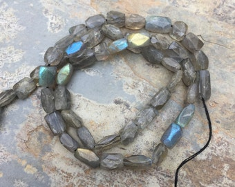 Labradorite Faceted Rectangle Beads, Faceted Labradorite Brick Beads, 14 inch strand, 8mm appox.