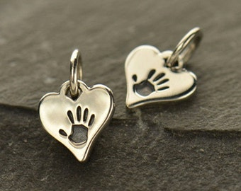Tiny Sterling Silver Hand Print Heart Charm
