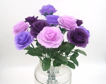 Purple Silk Flower Rose Bush with 15.7'' Stems,Fake Artificial Fabric Rose Bouquet,Wedding Aisle decor,Silk Flowers,Floral Centerpieces
