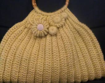 "Crochet yellow wool crochet bag with ""Freeform"" elements and bamboo handles  Handmade Made in Italy"