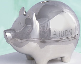 Engraved Silver Piggy Bank [piggy bank, children, kids piggy bank, engraved piggy bank, money, child piggy bank, silver piggy] -gfy859020