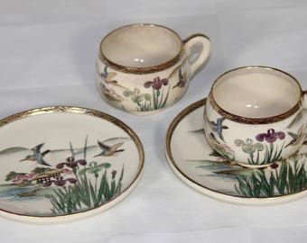 Set of Two Vintage Japanese Hand-painted Teacups with Saucers Birds Iris Scene
