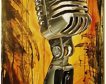JEREMY WORST MIC Canvas Print rap hip hop urban rock music abstract colorful microphone