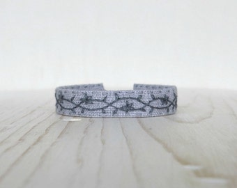 Gray Fabric Bracelet, Embroidered Cuff Bracelet, Gift For Her, Gift Under 40, Linen Cuff Bracelet, Handmade Bracelet, Boho Cuff Bracelet