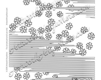 Zig Zag Striped Flower Blossoms ~ Adult coloring page printable download ~hand drawn little flowers~ Japanese Blossoms by Artwork Anywhere