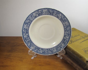 Vintage Transferware Saucer - Grape Leaf and Cluster Design -  Blue and White