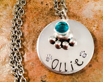 Dog/Cat Necklace, Pet Memorial Necklace, Bereavement Necklace