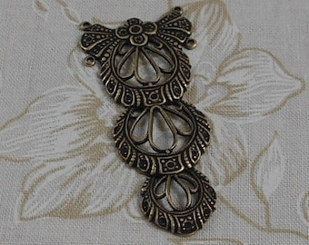 LuxeOrnaments Oxidized Brass Filigree Victorian Floral Focal (1 pc) G-7168-D-S