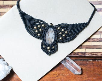 Goth Macrame necklace, boho macrame, bohemian jewelry, Handmade Macrame Necklace, Handmade jewelry, Macrame Jewelry, Micro Macrame, For Her