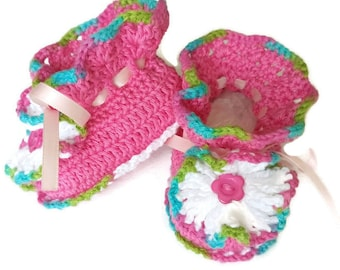 Crochet pink baby girl shoes, pink baby shoes, girls' shoes, crochet baby shoes, soft sole shoes, newborn shoes, baby shoes, toddler shoes